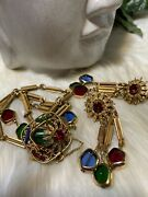 Miriam Haskell Rare Gripoix Glass Book Piece Bracelet And Earrings Set Minta2