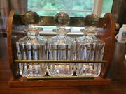 Antique Baccarat Crystal Whiskey Decanter 3 Piece Original - Boxandnbsp Lock And Key