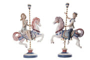 Vintage 20th Porcelain Figurine Pair Girl And Boy On Carousel Horses Lladro Marked