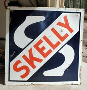 Vintage Skelly Gas Station Porcelain Advertising Sign Double Sided 48andrdquo Very Nice