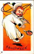 Vintage Stecher Litho Company Clown With Scary Ghoul Antique Halloween Postcard