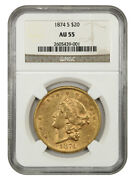 1874-s 20 Ngc Au55 - Liberty Double Eagle - Gold Coin