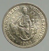 1933 Hungary Miklós Horthy Madonna Child Antique Old Silver 2 Pengo Coin I94656