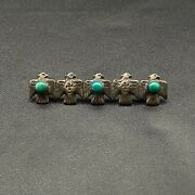 Vintage Navajo Sterling Silver Turquoise Thunderbird Whirling Log Brooch Pin