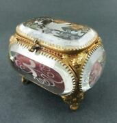 Antique French Jewelry Casket - Etched Bird On Beveled Glass - Red Velvet Lining