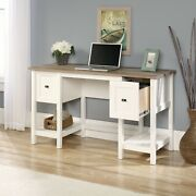 White Rustic Farmhouse Home Desk Computer Writing Storage Table With Drawers