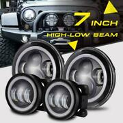 4pcs 7inch Led Headlight Angel Eyes + 4and039and039 Fog Lights For Hummer H1 H2 H3 06-10