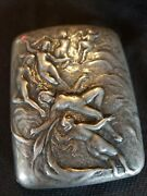 Antique Gorham Nude Lady Nymps Sirens Sterling Silver Cigarette Case