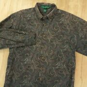 Knights Of Round Table Faded Paisley Print Shirt Xl Hippie Retro Psych Vtg 90s