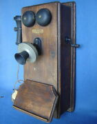 Antique Oak Western Electric Hand Crank Wall Phone 239w Bell Ringer Telephone