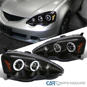 For Acura 02-04 Rsx Dc5 Led Halo Projector Headlights Head Lamp Black Left+right
