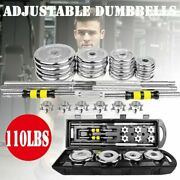 110lb Weight Dumbbell Set Adjustable Fitness Gym Cast Full Iron Steel Plates