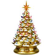 15 Prelit Hand-painted Ceramic Tabletop Christmas Tree Battery Powered Gold