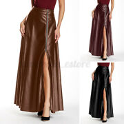 Womens A Line Leather Skirts Ladies Office Work Ol Skirt Solid Dress Plus Size