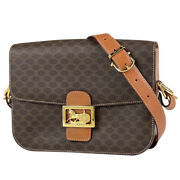 Celine Macadam Pattern Shoulder Bag Carriage Fittings Logo Pvc Brown Women And039s