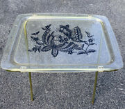 Vintage Lavada Clear Lucite Tv Trays Set Of 2 Gold Flecks Butterflies Stands