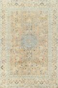 Antique Muted Floral Kashmar Hand-knotted Area Rug Evenly Low Pile Carpet 7x9 Ft