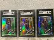 🔥2020-21 Topps Chrome Lionel Messi Gold Bubbles Refractor Lot 3 Sgc 10 9.5 9 💎
