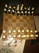 Vintage Mexico Carved Bone Spanish Pulpit Style Chess Set