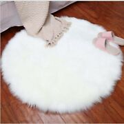 Round Soft Faux Sheepskin Area Rugs For Bedroom Floor Shaggy Silky Plush Carpet