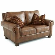 Sanremo Top Grain Leather Loveseat With Two Pillows By Brown 68.5w X 41d X 37