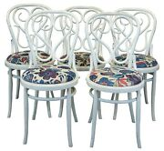 5 Vintage White Thonet Style Bentwood Cafe Dining Chairs Floral Seats