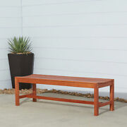Eucalyptus Wood Backless Garden Bench Slatted Seat Decay Resistant Patio Outdoor