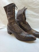 Antique Womens Victorian Cahill Shoes Lace Up Brown Boots Goodyear Wingfoot Rare