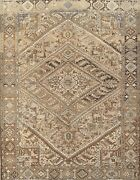 Vintage Muted Tribal Geometric Heriz Hand-knotted Area Rug Oriental Carpet 8and039x9and039