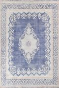 Antique Kirman Hand-knotted Navy Blue Oriental Evenly Low Pile Wool Carpet 10x13
