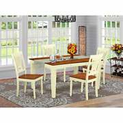 East West Furniture Kitchen Table Set - Wooden Table And White Wepl5-bmk-w