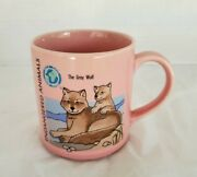 Vintage Endangered Animals Coffee Mug The Gray Wolf Pink Cup Action Japan