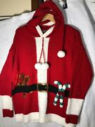 Santa Ugly Christmas-united States Sweaters-long Stocking Cap Hood-sequins