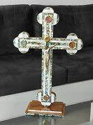 Extra Large Cross Mother Of Pearl Standing Jerusalem Olive Wood Hand Made Church