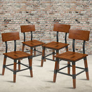 4 Pack Commercial Grade Rustic Antique Walnut Industrial Style Wood Dining Chair