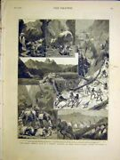 Original Old Antique Print Kennedy Afghanistan Expedition Staff Scientific 1884