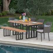 Micah Outdoor Wicker Light Weight Concrete Dining Set With