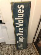 Vintage 1950and039s Gates Tires Tire Gas Station Metal Sign Large Rare