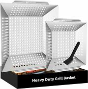 Grill Basket, Vegetable Grill Basket Set Of 2, Grill Baskets For Outdoor Grill
