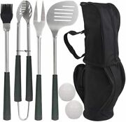 7pcs Golf-club Grilling Accessories Set With Rubber Handle - Stainless Steel Bbq