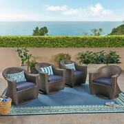 Larchmont Outdoor Wicker Swivel Chairs With Cushions Set Of