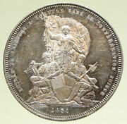 1881 Switzerland Swiss Shooting Festival Fribourg Antique Silver 5 F Coin I95155