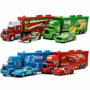 Disney Pixar Cars Lot Mcqueen King Container Hauler Truck And Car Model Toy Set