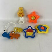 Vintage Baby Toys Teethers Rattles Fisher Price Seseme Street Lot Of 5 1970's