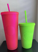 Starbucks Fall 2021 Neon Pink Tumbler 24oz And Neon Green 16oz Studded Cold Cup