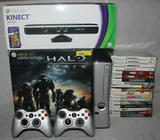 Xbox 360 Console Limited Edition Halo Reach 250gb Tested Controllers Kinect Box