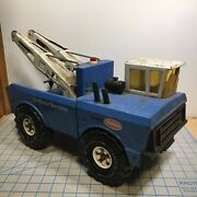 Vintage Blue Mighty Tonka Aa Tow Truck Pressed Steel Double Boom Wrecker