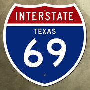Texas Interstate Route 69 Highway Marker Road Sign Houston Laredo 36x36 1957