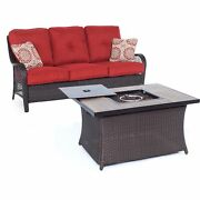 Orleans2pc Fp Seating Set Sofa, Fire Pit Coffee Tbl W/wood Grain Tile - Brow...