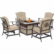 Traditions5pc Fire Pit 4 Cushioned Rockers Square Kd Fire Pit W/tile - Tan/...